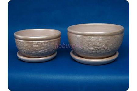 Комплект из 2-х горшков из керамики с поддонами «Фиалка металлик розовый»