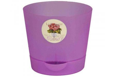 Горшок для цветов пластиковый с поддоном «ORCHID» 1,4л (сиреневый)