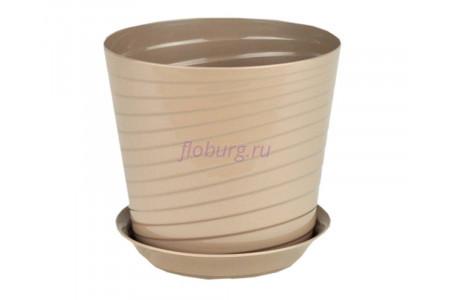 Горшок для цветов пластиковый с поддоном Верона с под.11 (фраппе) 0668