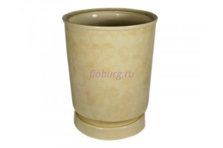 Горшок для цветов керамический с поддоном «Вазон №4» бежевый 30л