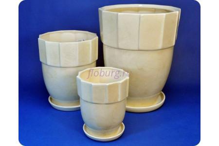 Горшки для цветов керамические с поддонами в наборе из 3-х «Башня (белый)» 019