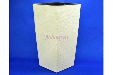 Кашпо пластиковое со вставкой Finezja dluto 40*40*75см (крем) (591-74)