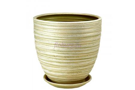 Горшок для цветов керамический с поддоном Модерн 3 св.оливка 55-324  4-24