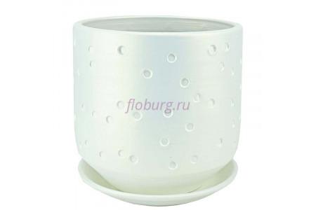 Горшок для цветов керамический с поддоном Марго цилиндр бел.21см 4-32  37-232