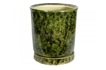 Горшок для цветов керамический с поддоном «Вазон №4» зеленый 30л