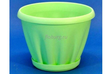 Горшок для цветов пластиковый с поддоном Знатный 2л (зеленый)