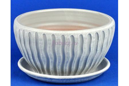 Горшок для цветов керамический с поддоном Мане плошка белый/серый 18см 3-18 (47-118)