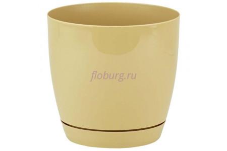 Горшок для цветов пластиковый с поддоном Toscana круг. 1,6л с под.(кофе) (0741-002)