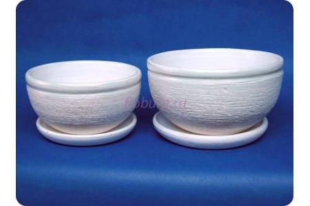Комплект из 2-х горшков из керамики с поддонами «Фиалка металлик жемчуг»