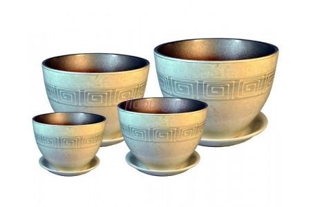 Горшки для цветов керамические в наборе из 4-х «РС312 Венеция Меандр»