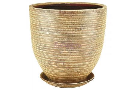 Горшок для цветов керамический с поддоном ЭКО бутон беж.32см 05-401 5-01
