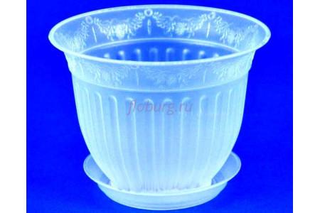 Горшок для цветов пластиковый с поддоном Виноград с под.16 (прозр) 16-П
