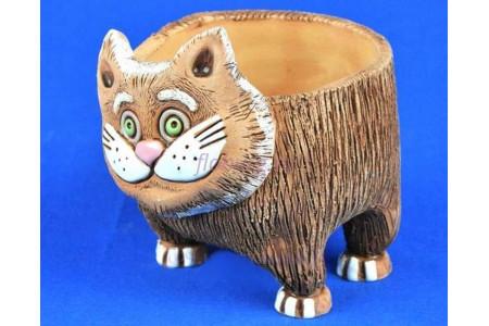 Кашпо керамическое без поддона и дренажного отверстия Кот