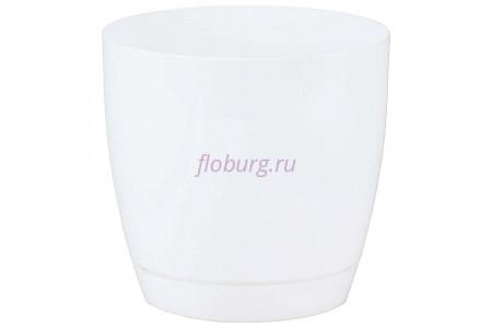 Горшок для цветов пластиковый с поддоном Toscana круг.13см (бел) 0741-011