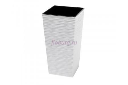 Кашпо со вставкой пластиковое без поддона и дренажного отверстия Finezja dluto 40x40x75см (бел) 591-05