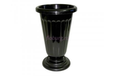 Вазон для цветов пластиковый на ножке малый рифленый черный