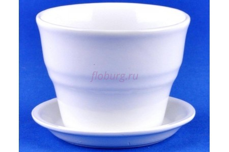 Горшок для цветов керамический с поддоном Колибри Глянец бел.10,5см ГЛ801/1