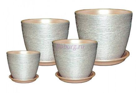 Горшки для цветов керамические в наборе из 4-х «Кассандра металлик серебро»