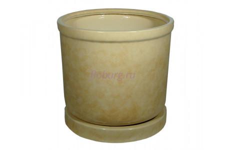 Горшок для цветов керамический с поддоном «Цилиндр №9» бежевый 78л