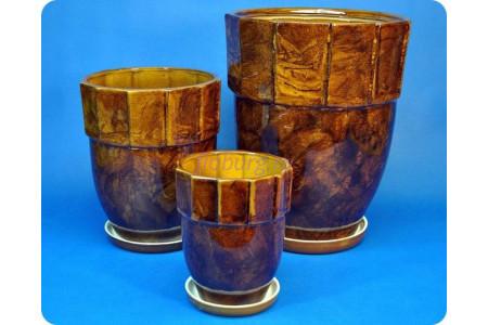 Горшки для цветов керамические с поддонами в наборе из 3-х «Башня (коричневый)» 021