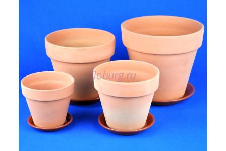 Горшки для цветов керамические с поддонами комплект из 4-х Конус Терракотовый кмпт ТР201