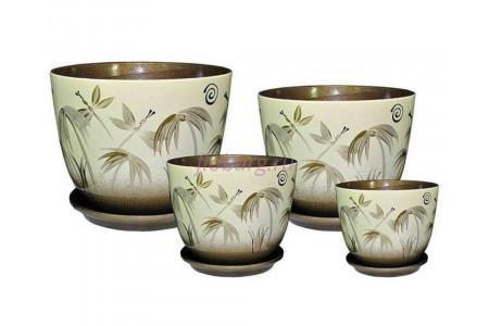Горшки цветочные керамические в наборе   из 4-х штук «Милан Бали».