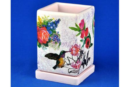 Горшок для цветов керамический с поддоном Кубик выс.d12/h17см (NK0105)