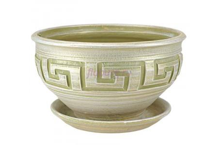 Горшок для цветов керамический с поддоном Меандр миска оливка 26см 4-24 (16-124)