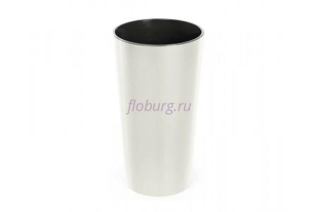 Кашпо со вставкой пластиковое без поддона и дренажного отверстия Lilia 30x30x57см (крем) 546-74