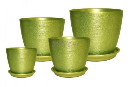 Горшки цветочные в наборе из 4-х  «Кассандра металлик (зеленый)»