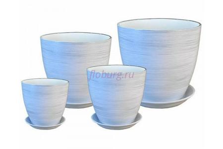 Горшки для цветов керамические с поддонами в наборе из 4-х «Бутон белый/серебро» ЭК 02