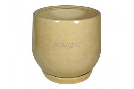 Горшок для цветов керамический с поддоном «Тюльпан №2» бежевый 26л
