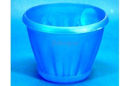 Горшок для цветов пластиковый с поддоном Знатный 2л (прозр-синий) 009