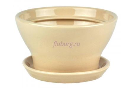 Горшок для цветов керамический с поддоном Конус №5 d17см (беж)
