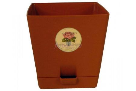 Горшок для цветов пластиковый с поддоном «Le parterre» 1,0л (терракотовый)