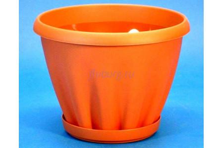 Горшок для цветов пластиковый с поддоном Знатный 0,45л (терракотовый)