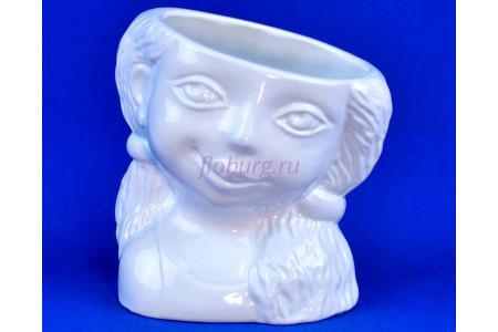 Кашпо керамическое Девочка (0601) бел. ГЛ0601