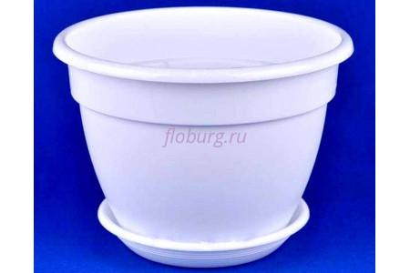 Горшок для цветов пластиковый с поддоном Антик с под.17 (бел) 0210