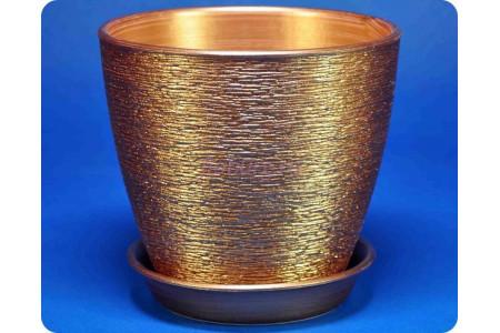 """Цветочный горшок из керамики """"Виктория"""" (10см) бронза"""