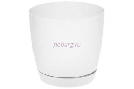 Горшок для цветов пластиковый с поддоном Toscana круг.15см (белый) 0742-011