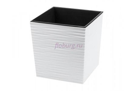 Кашпо со вставкой пластиковое без поддона и дренажного отверстия Juka dluto 40x40x41см (бел) 601-05