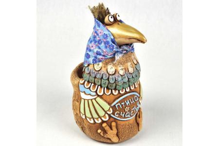 Кашпо керамическое без поддона и дренажного отверстия Птица счастья (курочка)