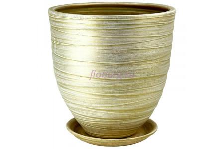 Горшок для цветов керамический с поддоном Модерн 4 св.оливка  55-42  5-24