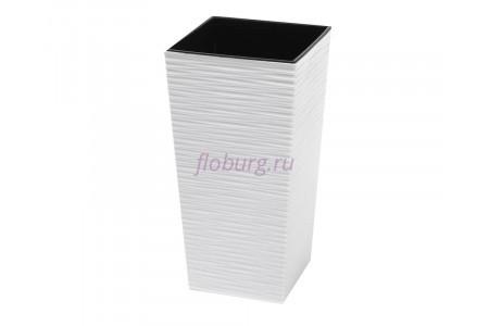 Кашпо со вставкой пластиковое без поддона и дренажного отверстия Finezja dluto 25x25x46,5см (бел) 589-05