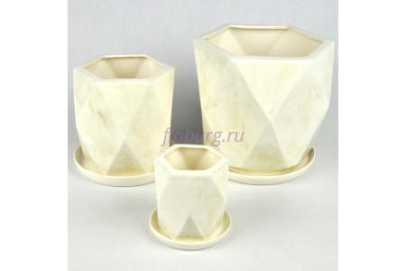 Набор керамических горшков для цветов Кристалл из 3-х (белый) 1042