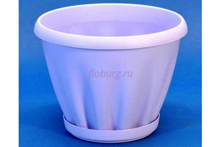 Горшок для цветов пластиковый с поддоном Знатный 0,45л (сирень)