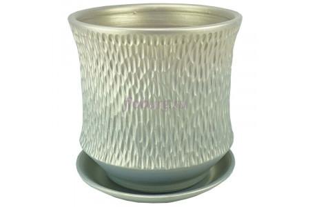 Горшок для цветов керамический с поддоном Павлин цилиндр светл.22см 4-33  39-233