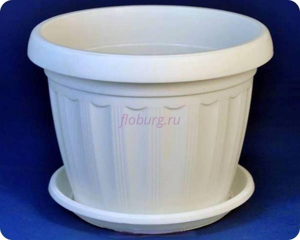 Горшок для цветов пластиковый с поддоном «Терра» 8 (белый)