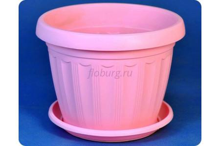 """Горшок пластиковый цветочный """"Терра  с под.12(роз)"""""""
