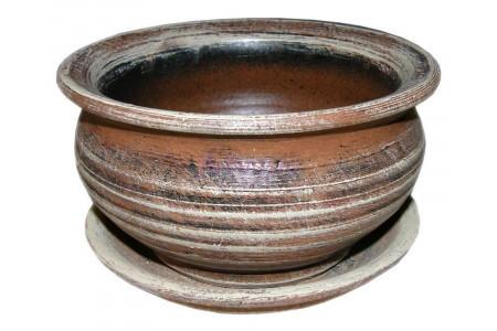 Горшок для цветов керамический с поддоном Кантри фиалочница беж.16см 2-01 (32-001)